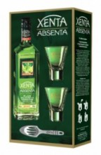 Absent Xenta, gift box with 2 glasses & spoon, 0.7 л